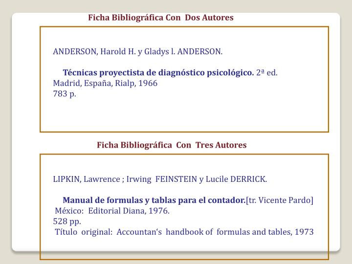 Ficha Bibliográfica Con  Dos Autores