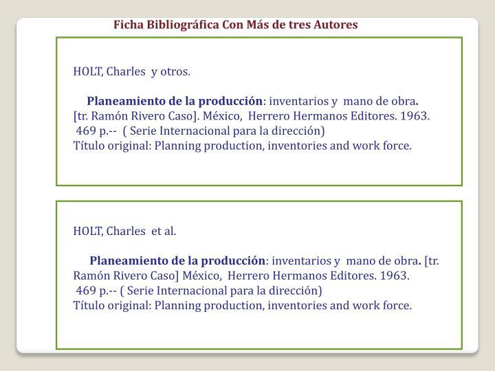 Ficha Bibliográfica Con Más de tres Autores
