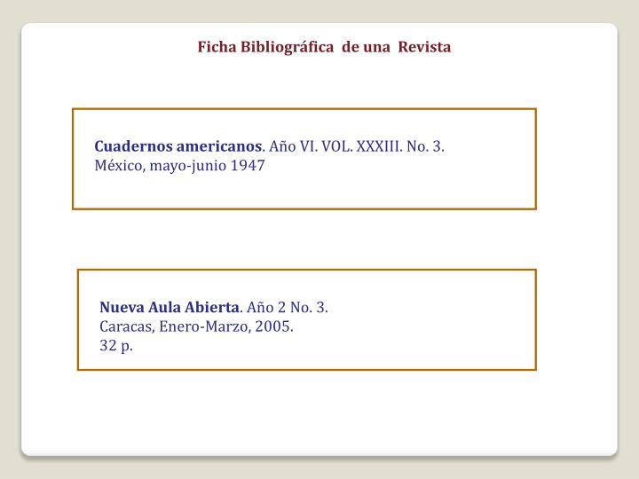Ficha Bibliográfica  de una  Revista