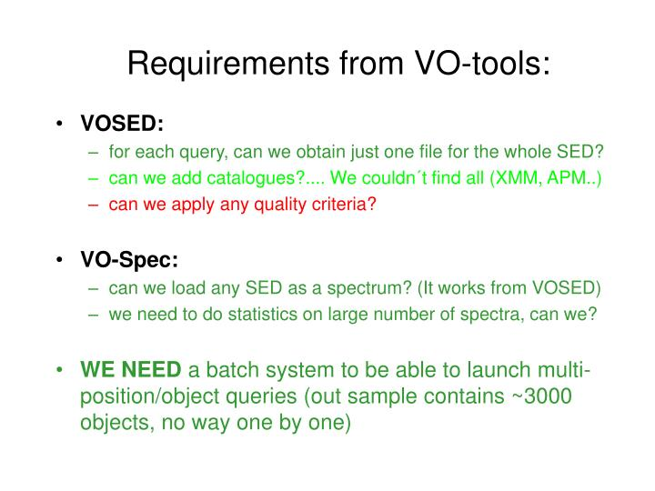 Requirements from VO-tools: