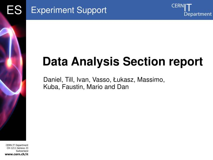Data Analysis Section report