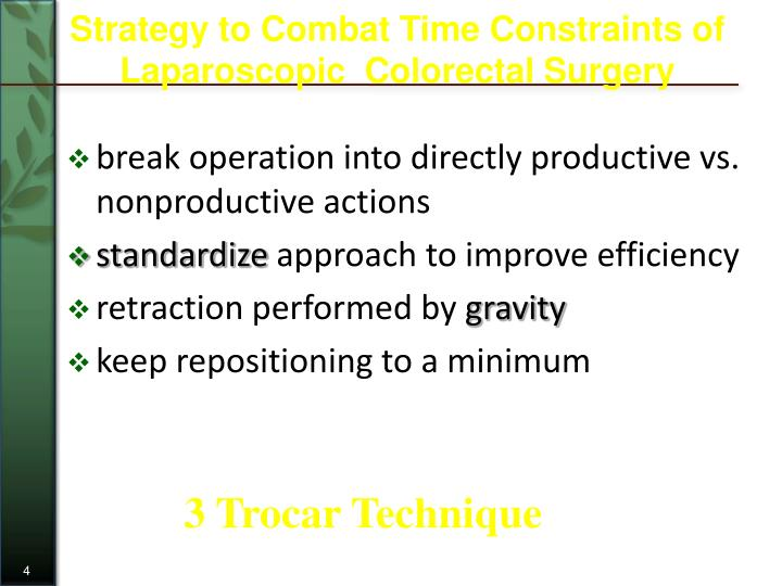 Strategy to Combat Time Constraints of Laparoscopic  Colorectal Surgery