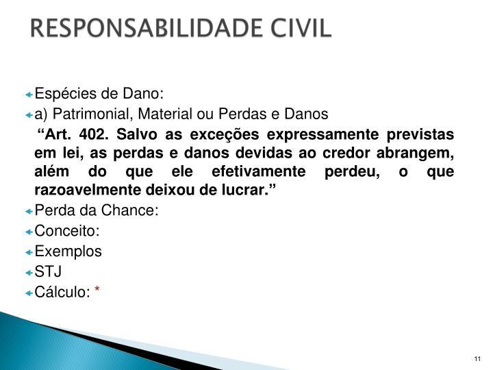 Espécies de Dano: