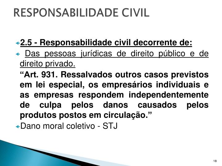 2.5 - Responsabilidade civil decorrente de: