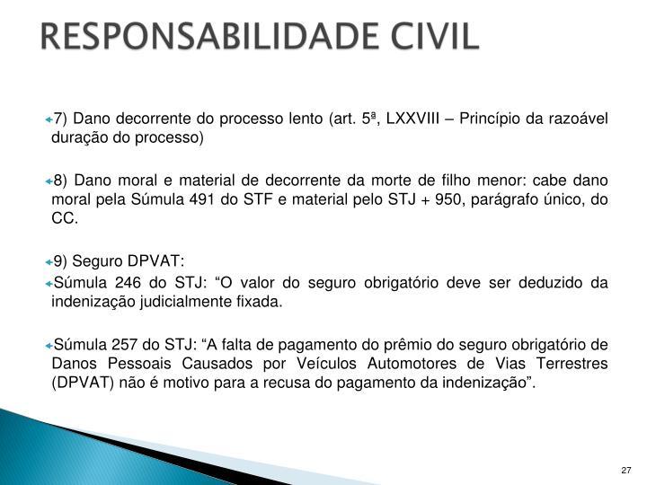 7) Dano decorrente do processo lento (art. 5ª, LXXVIII – Princípio da razoável duração do processo)