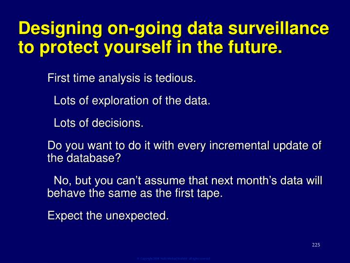 Designing on-going data surveillance to protect yourself in the future.