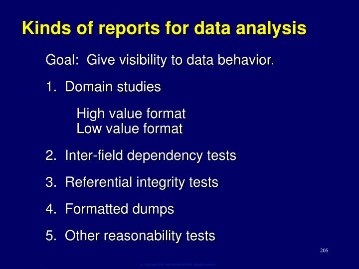 Kinds of reports for data analysis
