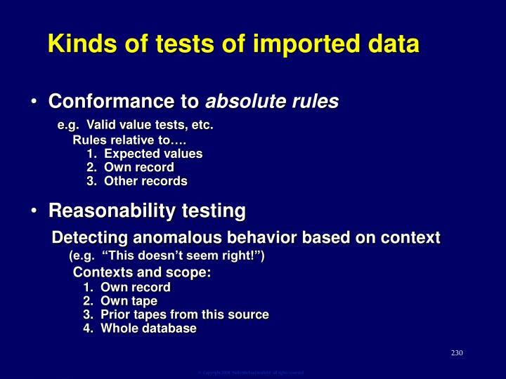 Kinds of tests of imported data