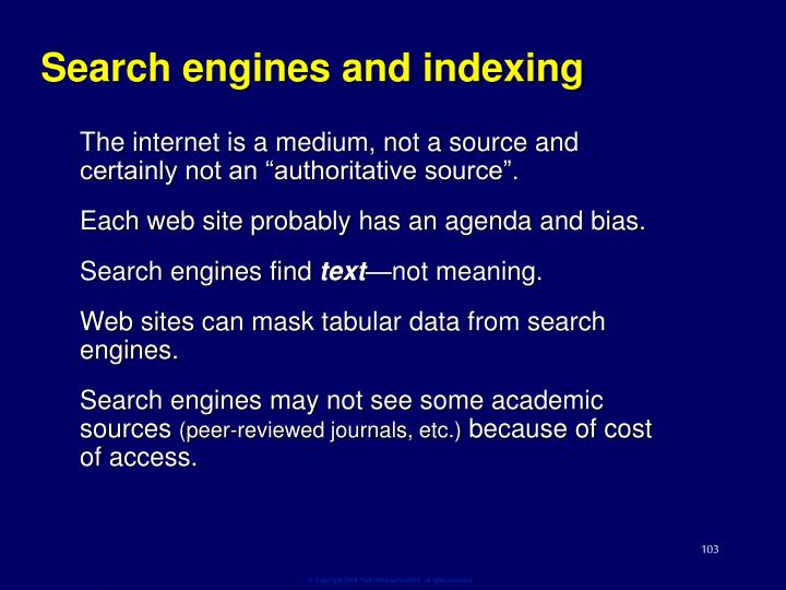 Search engines and indexing