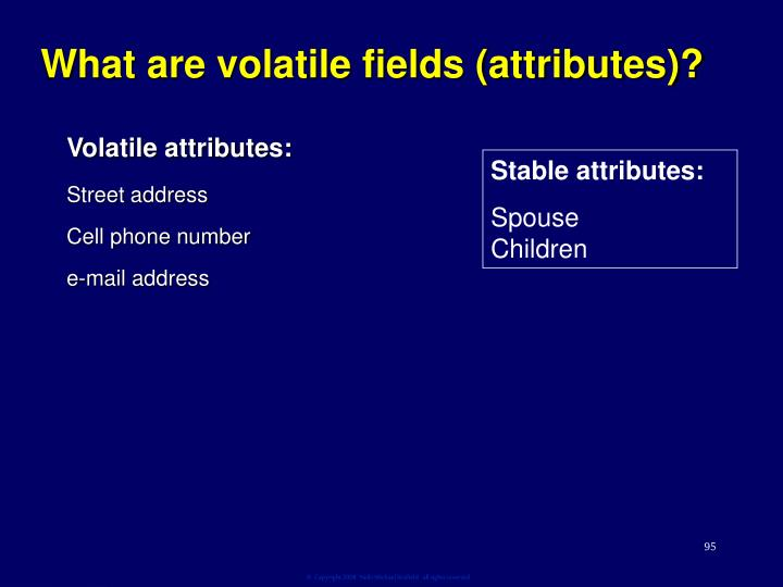 What are volatile fields (attributes)?