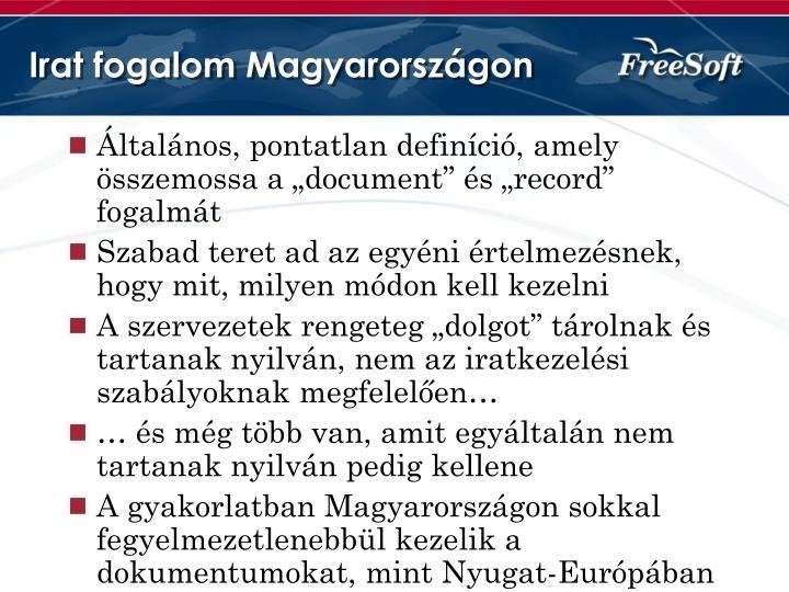 Irat fogalom Magyarországon