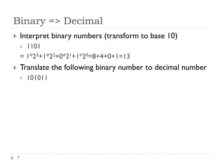 Binary => Decimal
