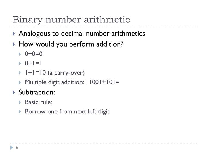 Binary number arithmetic