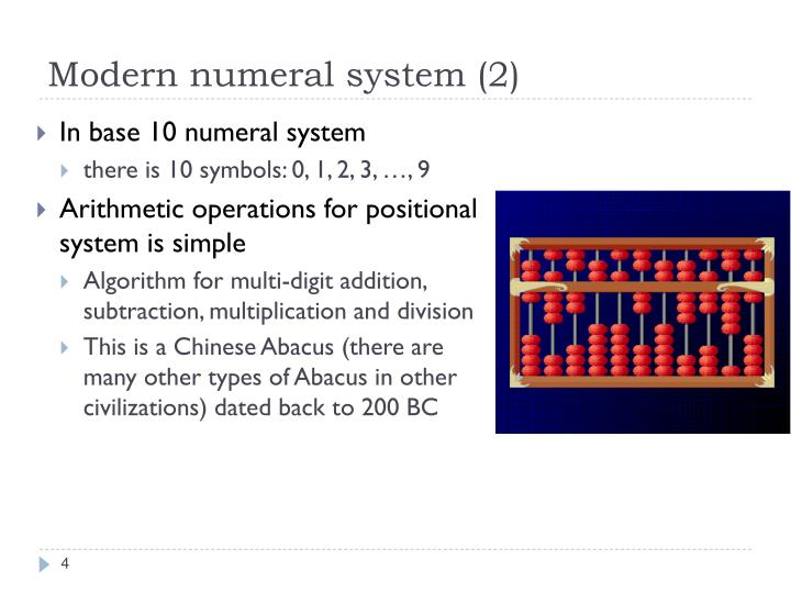 Modern numeral system (2)