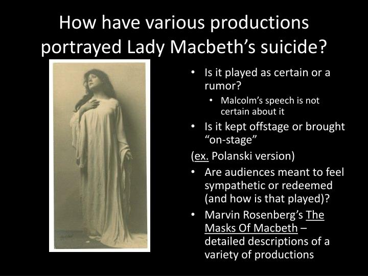 How have various productions portrayed Lady Macbeth's suicide?