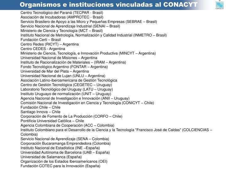 Organismos e instituciones vinculadas al CONACYT