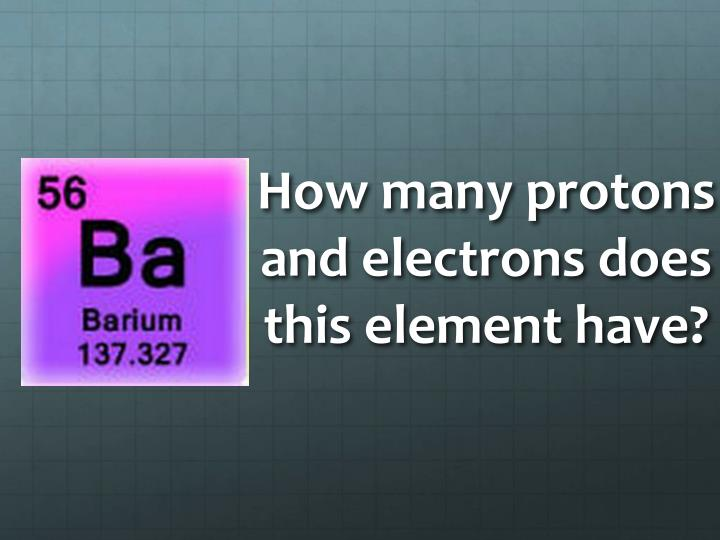 How many protons and electrons does this element have?