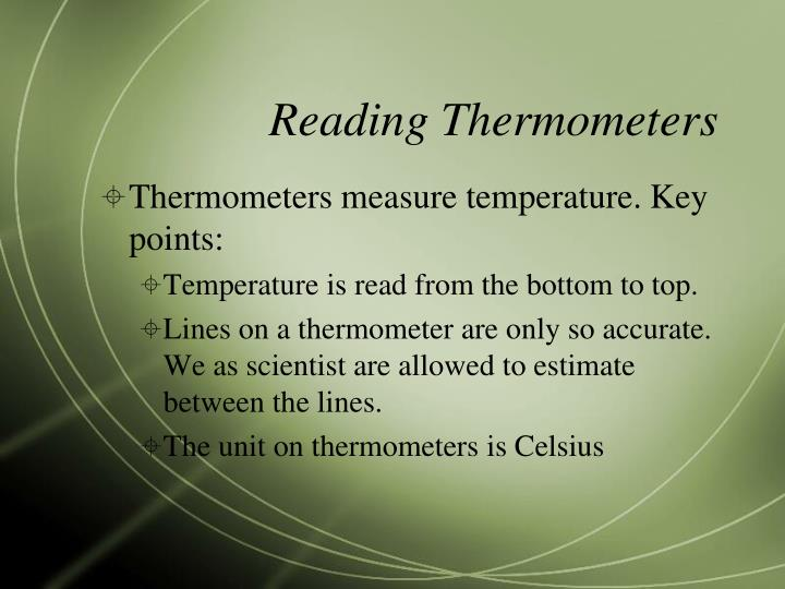 Reading Thermometers