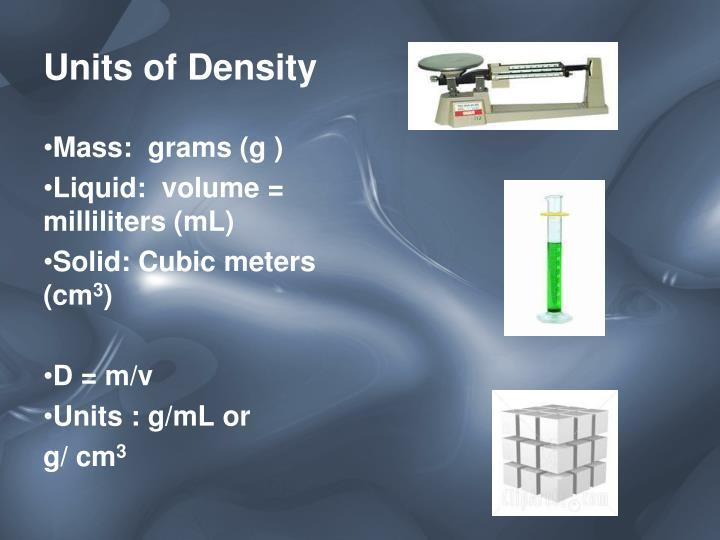 Units of Density