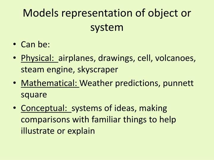 Models representation of object or system