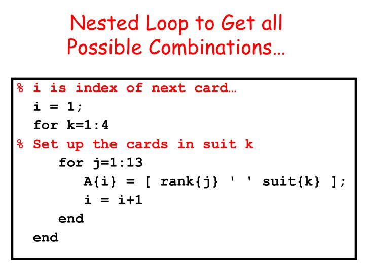 Nested Loop to Get all
