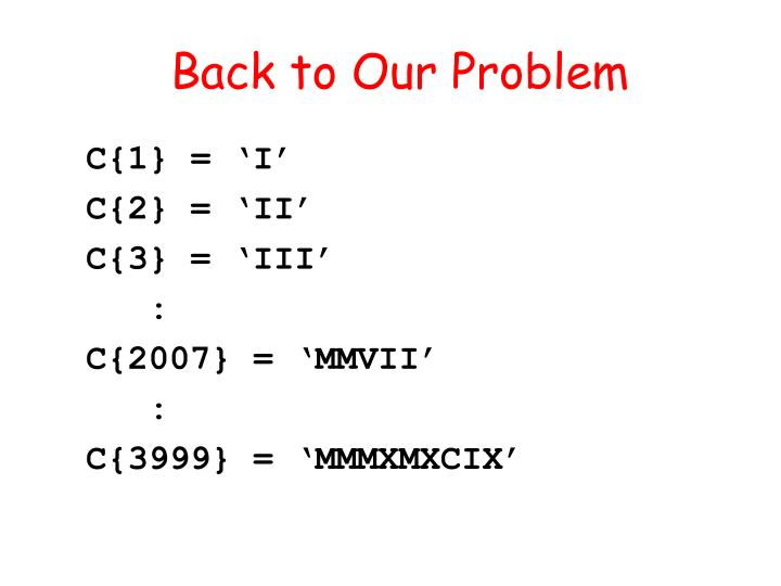 Back to Our Problem
