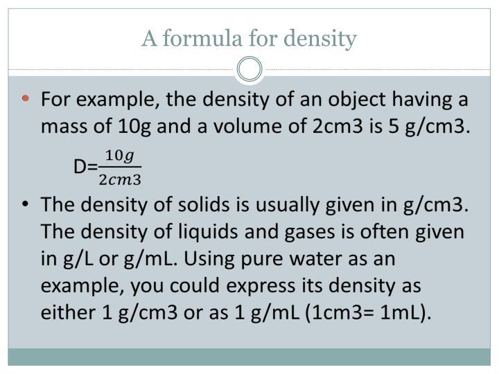 A formula for density