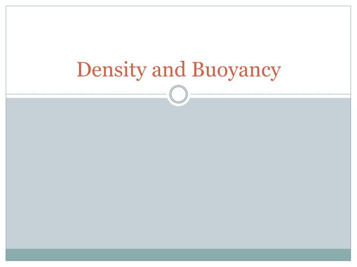 density and buoyancy
