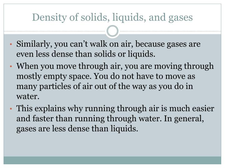 Density of solids, liquids, and gases