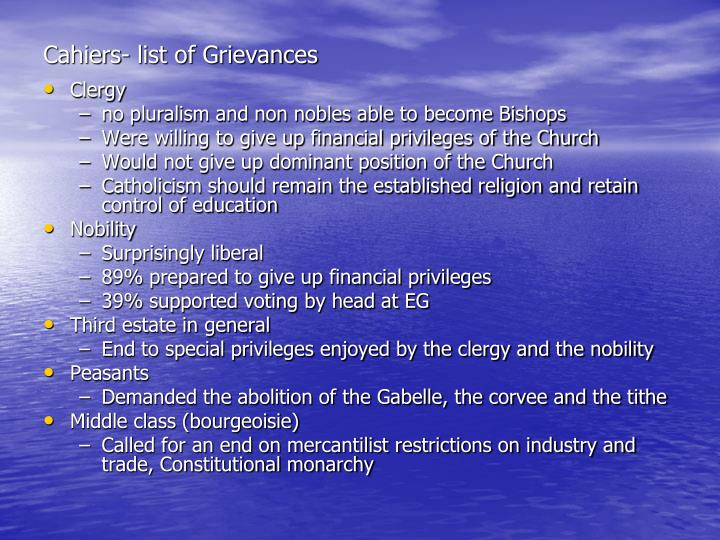 Cahiers- list of Grievances