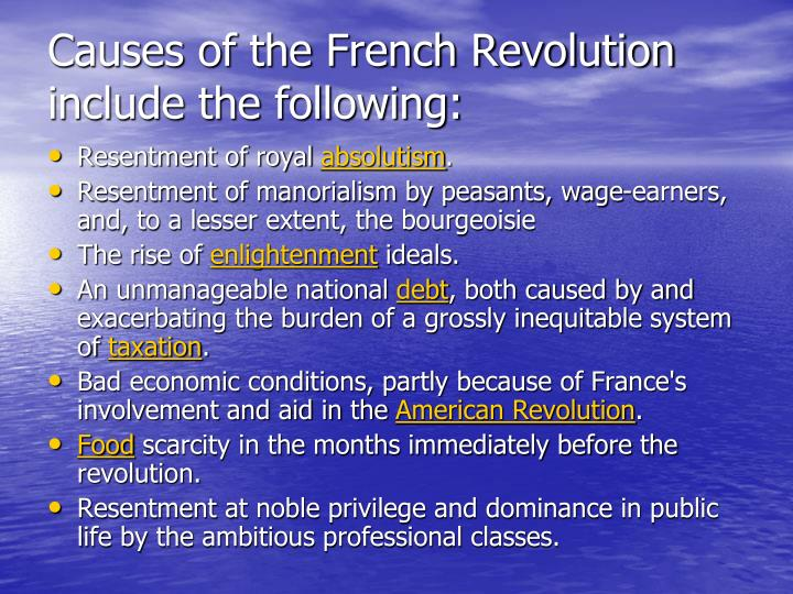Causes of the french revolution include the following