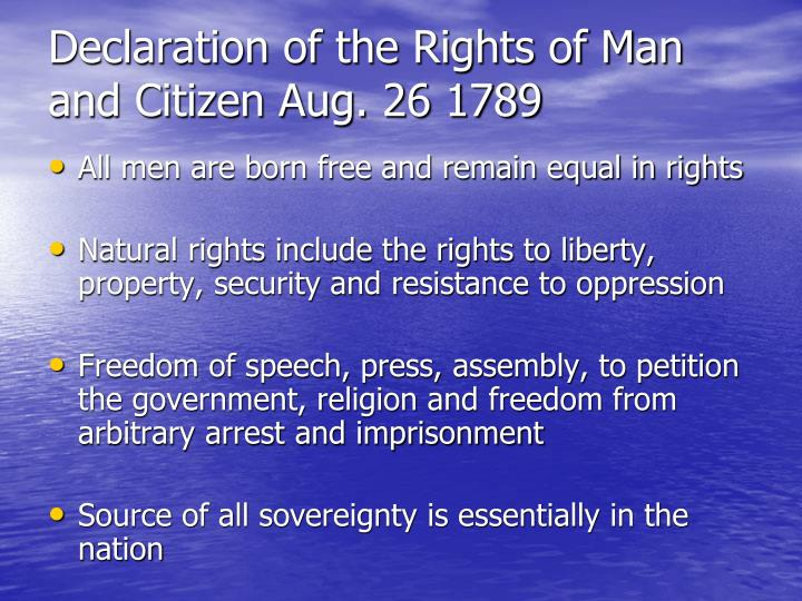 Declaration of the Rights of Man and Citizen Aug. 26 1789