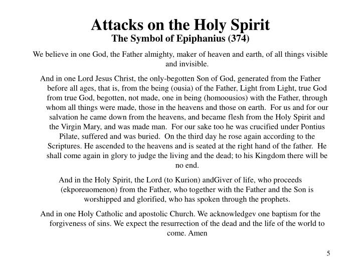 Attacks on the Holy Spirit
