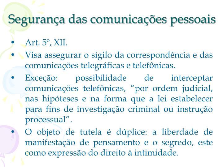 Segurança das comunicações pessoais