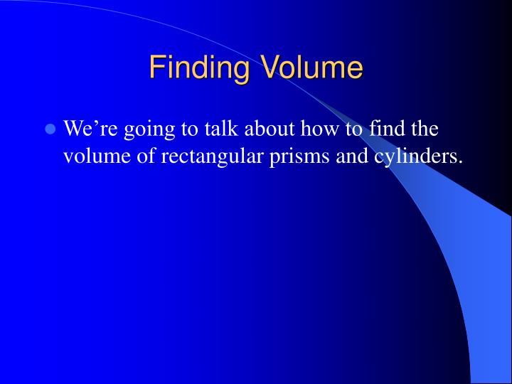 Finding Volume