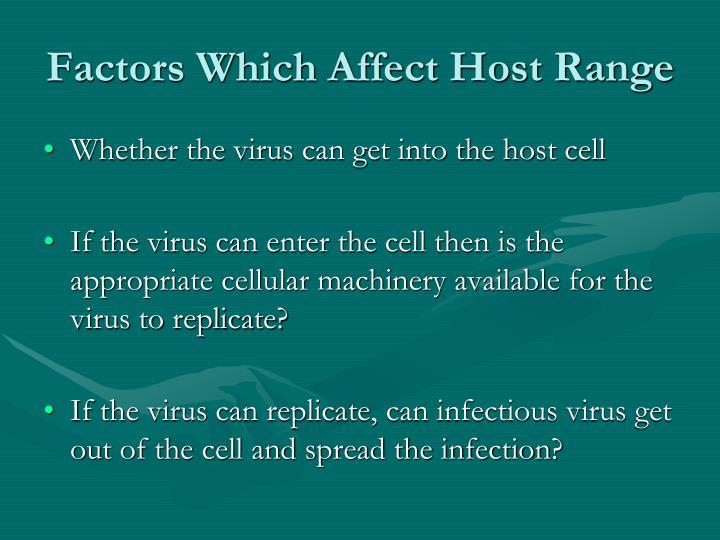 Factors Which Affect Host Range