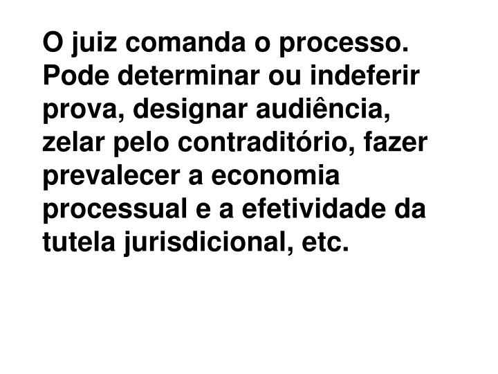 O juiz comanda o processo. Pode determinar ou indeferir prova, designar audiência, zelar pelo contraditório, fazer prevalecer a economia processual e a efetividade da tutela jurisdicional, etc.