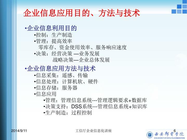 企业信息应用目的、方法与技术