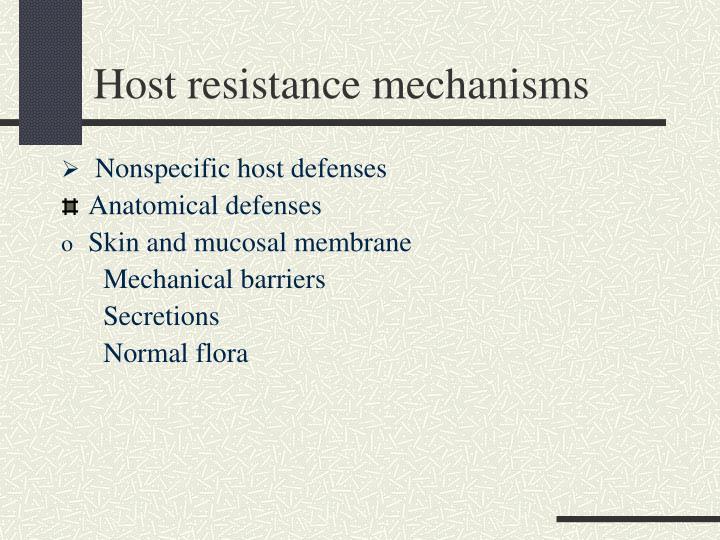 Host resistance mechanisms