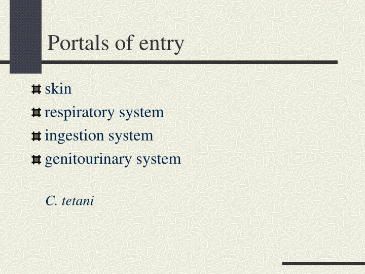 Portals of entry