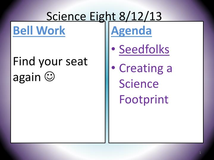 Science Eight 8/12/13