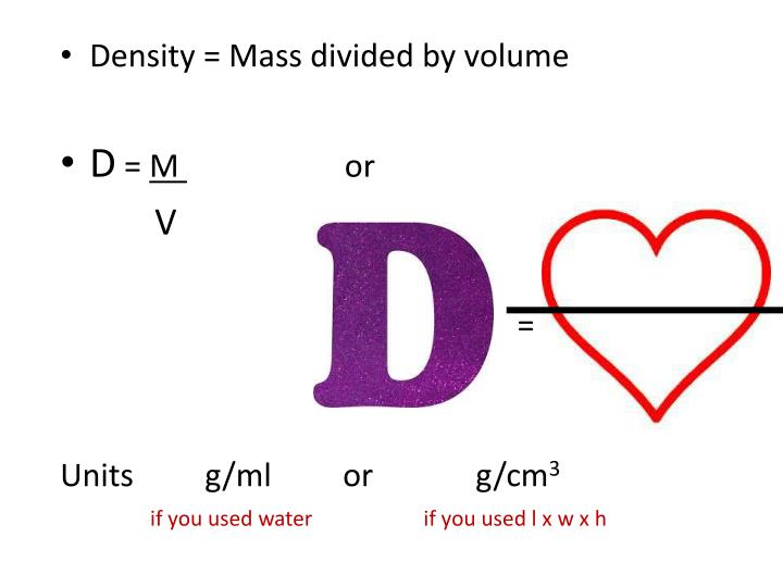 Density = Mass divided by volume