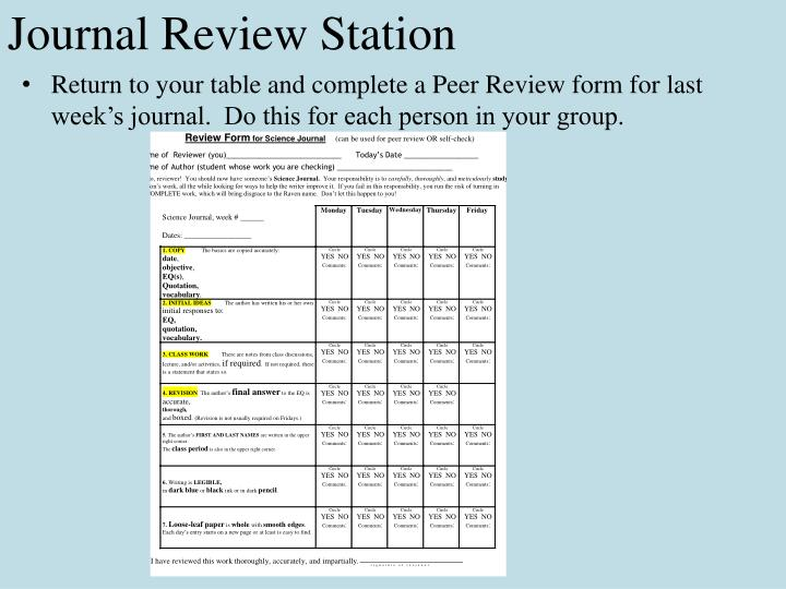 Journal Review Station