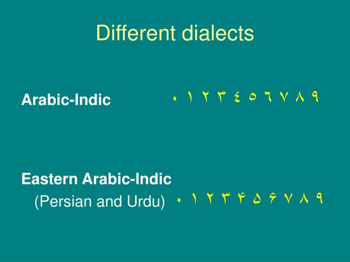 Different dialects