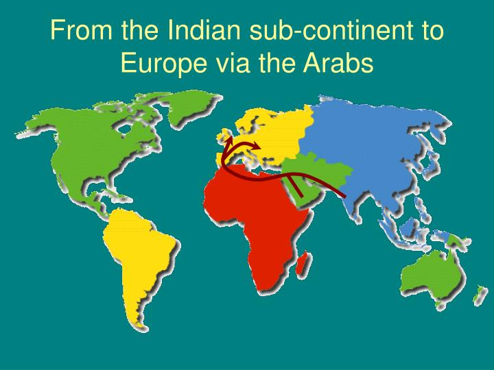From the Indian sub-continent to Europe via the Arabs