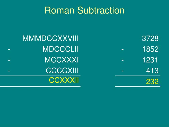 Roman Subtraction