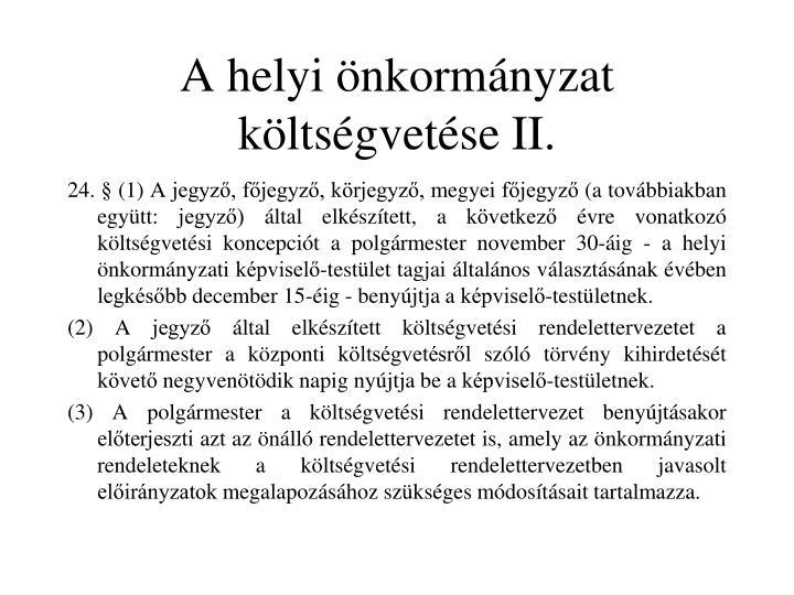 A helyi önkormányzat költségvetése II.