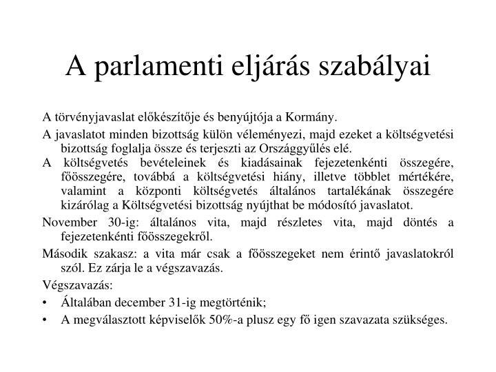 A parlamenti eljárás szabályai