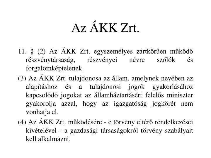 Az ÁKK Zrt.