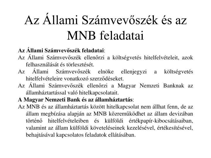 Az Állami Számvevőszék és az MNB feladatai